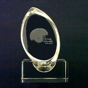 G1-538 - Football Crystal w/Football Helmet Crystal Laser Art & Crystal Stand-0
