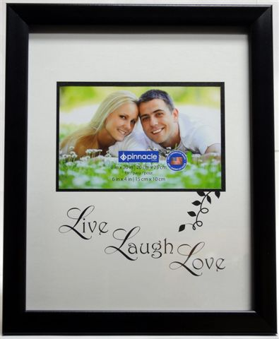 "P3-626 - 8"" X 10"" (6x4) Black Plastic Frame w/ Mat (Live, Laugh, Love)-0"