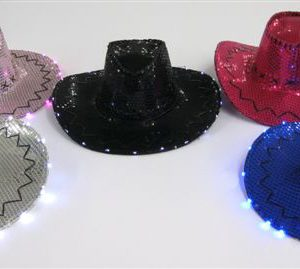 F1-2 - B/O Light-Up Cowboy Hat w/ Sequins-0