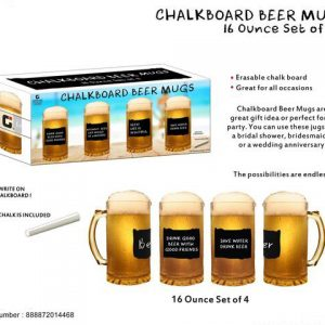 "K1-101 - 4 pc. ""Chalkboard"" Beer Mugs-0"