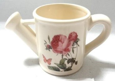 G1-624 - Lge. Watering Can Flower Pot (Rose & Butterfly)-0