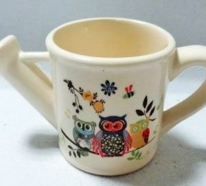 G1-627 - Lge. Watering Can Flower Pot (Owls)-0