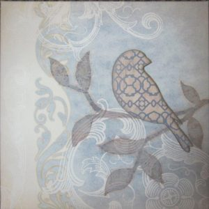 "P1-104 - 12"" x 12"" 'Blue Scroll' Canvas w/ Bird Applique-0"