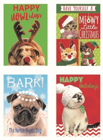 X1-3 - Deluxe Xmas Cards 12/pk.(Cats & Dogs)-3922