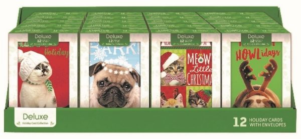 X1-3 - Deluxe Xmas Cards 12/pk.(Cats & Dogs)-0